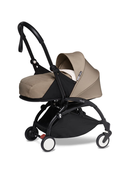 BABYZEN YOYO² Complete Stroller with Newborn Color Pack Fabric Set in Taupe with Black Frame
