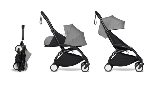 BABYZEN YOYO² Complete Stroller with Newborn & Toddler Color Pack Fabric Set in Gray with Black Frame
