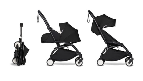 BABYZEN YOYO² Complete Stroller with Newborn & Toddler Color Pack Fabric Set in Black with Black Frame