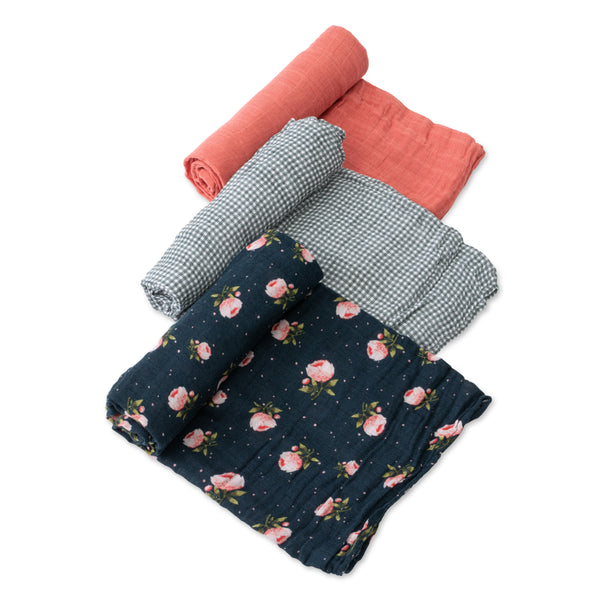 Cotton Muslin Swaddle 3 Pack in Midnight Rose Set by Little Unicorn