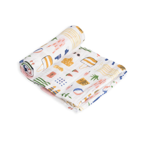 Cotton Muslin Swaddle Single in Beach Bag by Little Unicorn
