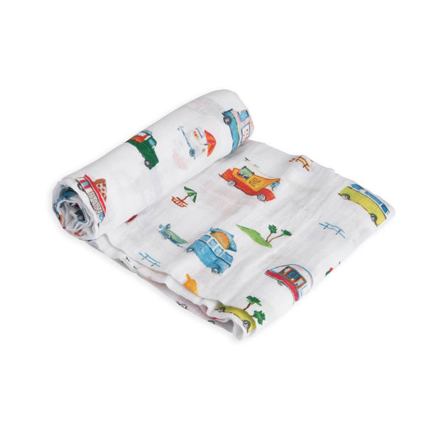 Cotton Muslin Swaddle Single in Food Truck by Little Unicorn