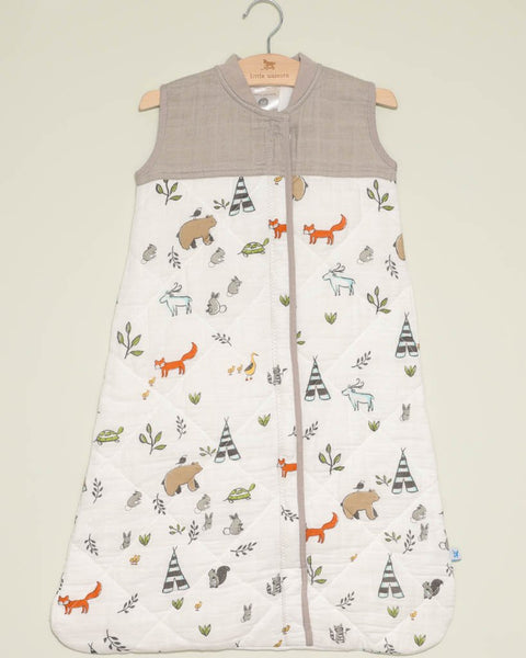 Quilted Cotton Muslin Sleep Bag in Forest Friends by Little Unicorn