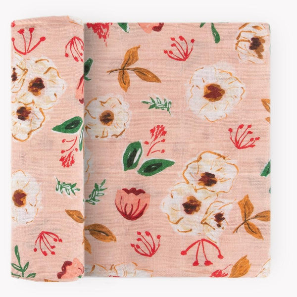 Cotton Muslin Swaddle Blanket in Vintage Floral by Little Unicorn