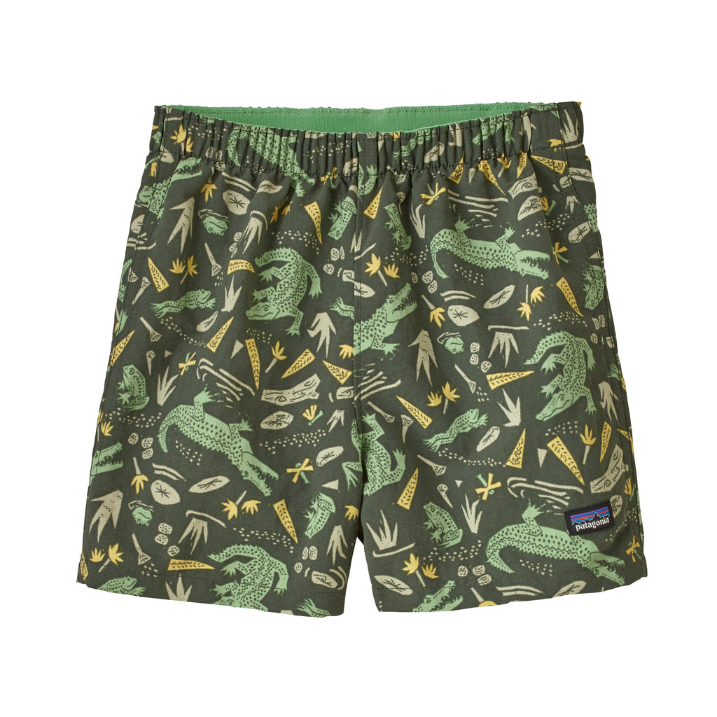 Baby Baggies Shorts in Alligators and Bullfrogs: Kale Green (ABKG) by Patagonia