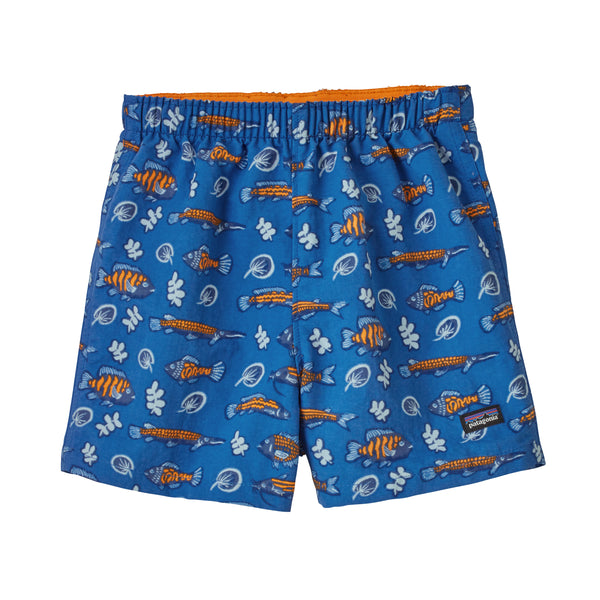 Baby Baggies Shorts in Fishies in the Swamp Bayou Blue (FSBE) by Patagonia