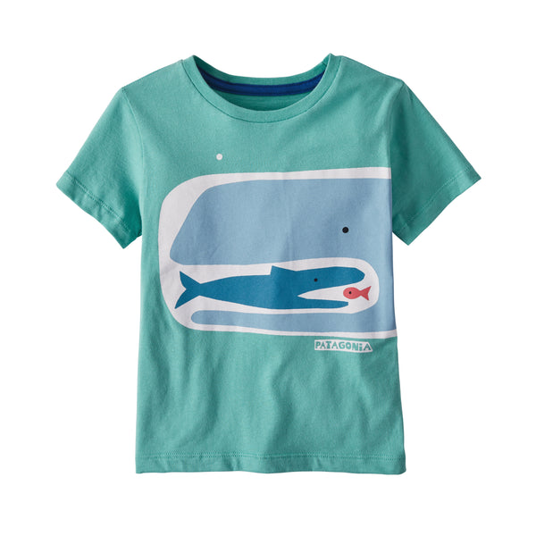 Baby Graphic Organic Cotton T-Shirt in Fishy Food Chain Light Beryl Green (FFCG) by Patagonia