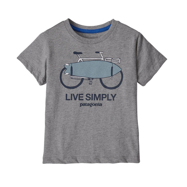 Baby Live Simply Organic Cotton T-Shirt in Live Simply Amphibious Bike Gravel Heather (LABG) by Patagonia