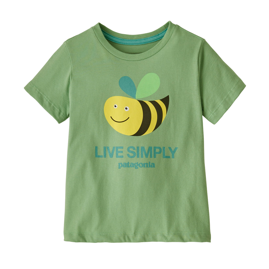 Baby Live Simply Organic Cotton T-Shirt in Live Simply Bee Cool Man Thistle Green (LSBT) by Patagonia