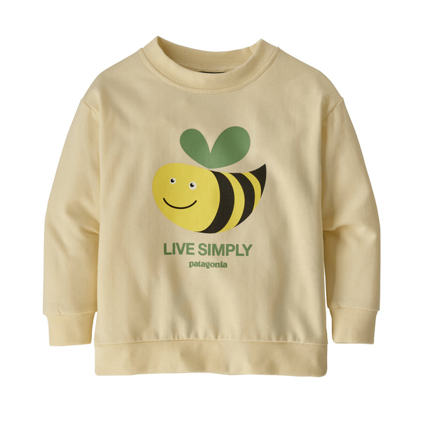 Baby Baby Lightweight Crew Sweatshirt in Live Simply Bee Cool Man White Wash (LSMW)by Patagonia