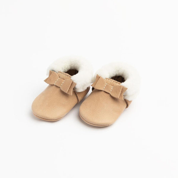 Shearling Bow Moccasins in Weathered Brown by Freshly Picked