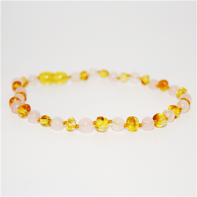 Amber Baltic & Gemstone Necklace in Lemon & Rose Quartz