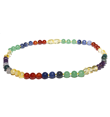 Amber Baltic Necklace in Gemstone Rainbow