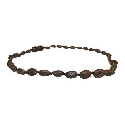 Amber Baltic Necklace in Raw Chestnut Bean