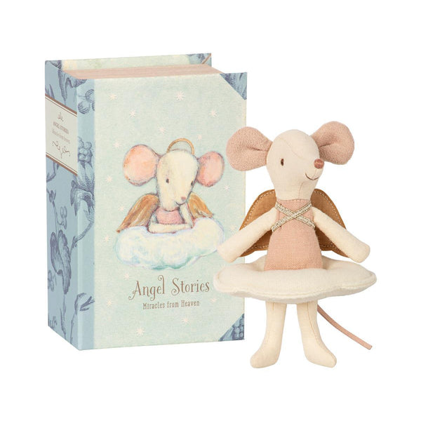 Angel Mouse Big Sister in Book by Maileg