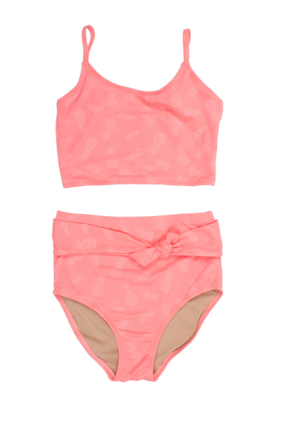 Two Piece Tankini Suit in Belted Coral Textured Pineapple by Shade Critters