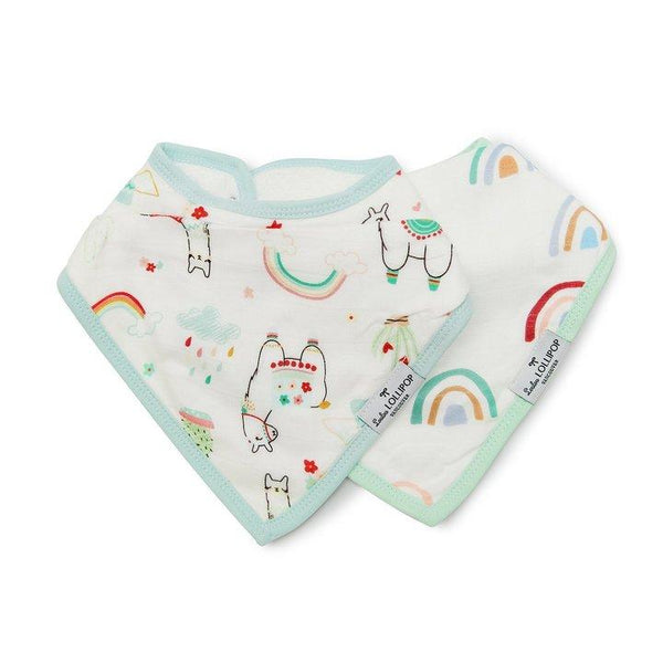Bandana Bib Set in Llama and Rainbow by Loulou Lollipop