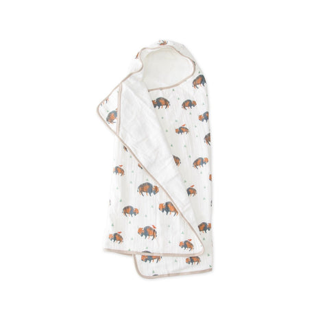 Big Kid Hooded Towel in Bison by Little Unicorn