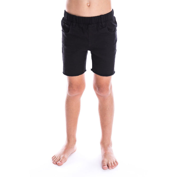 Black Denim Jeg Shorts by Beau Hudson