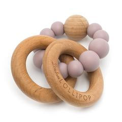Bubble Silicone & Wood Teether in Dusty Mauve