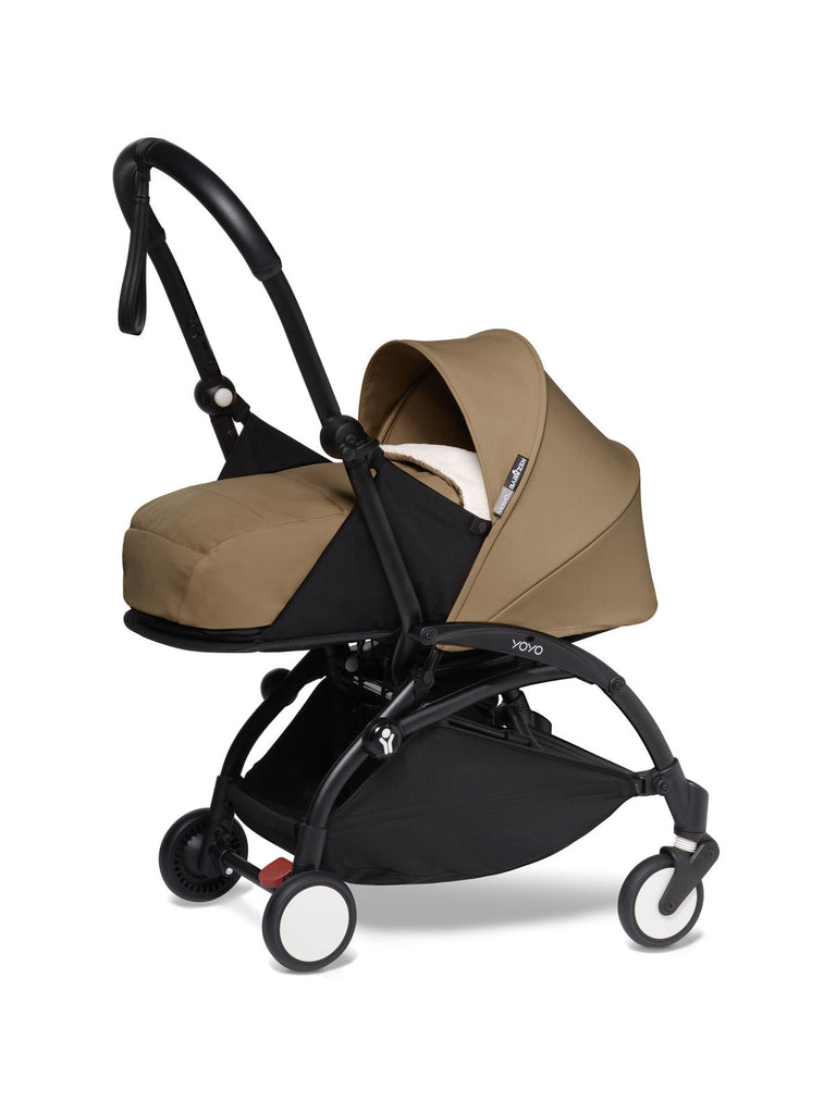 BABYZEN YOYO² Complete Stroller with Newborn Color Pack Fabric Set in Toffee with Black Frame