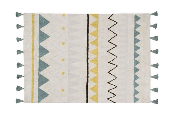 Washable Rug Azteca Natural Vintage in Blue by Lorena Canals