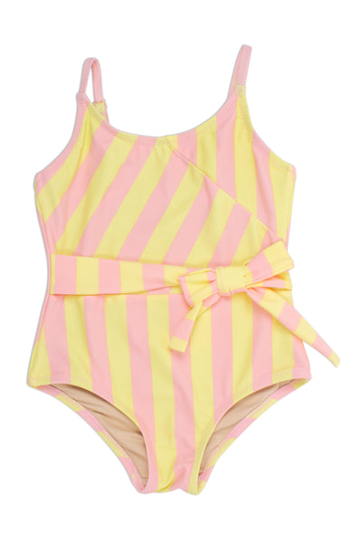 One Piece Faux Wrap Suit in Belted Pink and Yellow Stripe by Shade Critters