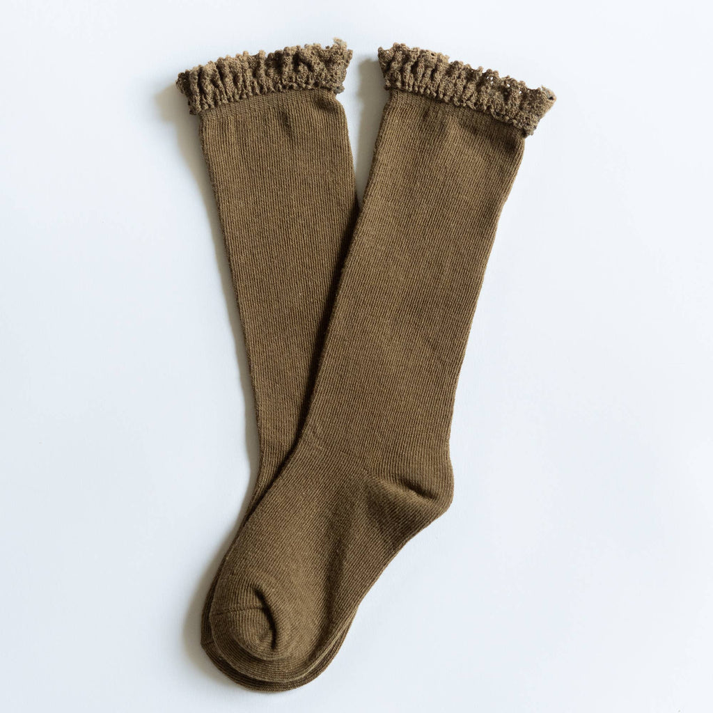 Little Stocking Co. - Olive Lace Top Knee Highs