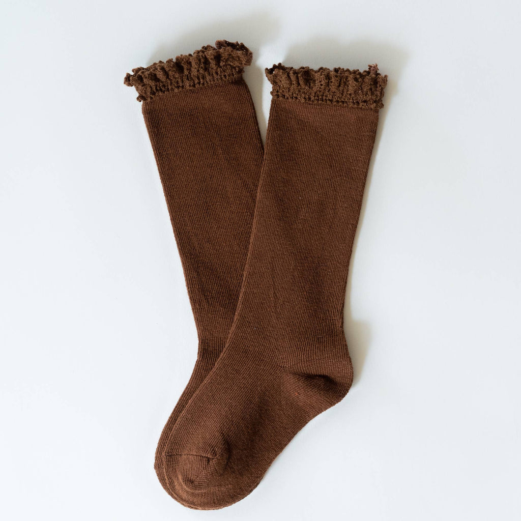 Little Stocking Co. - Chocolate Lace Top Knee Highs