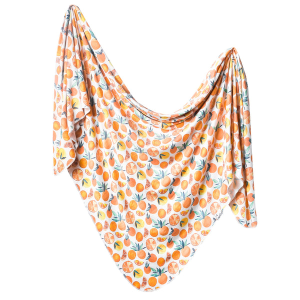 Knit Swaddle Blanket in Citrus by Copper Pearl