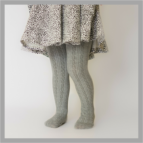 Cable Knit Tights in Gray