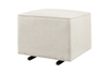 Kiwi Gliding Ottoman in White Linen by Babyletto