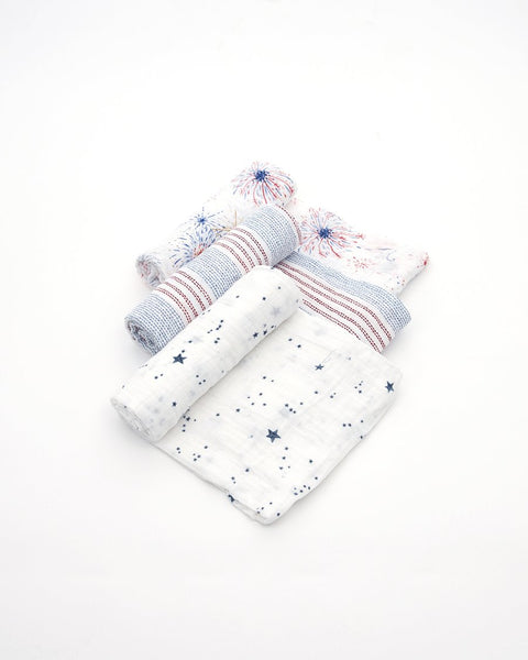 Cotton Muslin Swaddle 3 Pack in Celebration by Little Unicorn