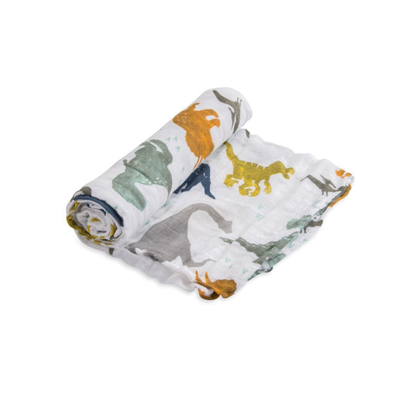 Cotton Muslin Single in Dino Friends by Little Unicorn