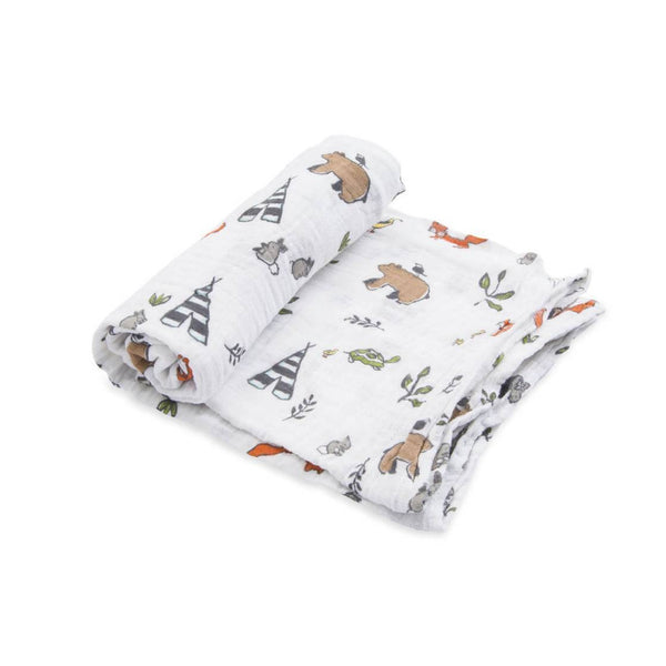 Cotton Muslin Single in Forest Friends by Little Unicorn