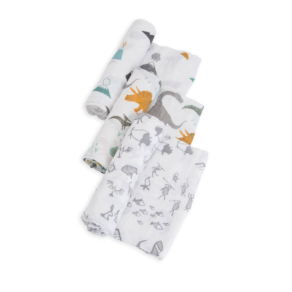 Cotton Muslin Swaddle 3 Pack in Dino Friends Set by Little Unicorn