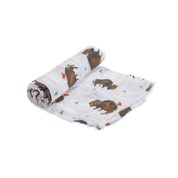 Cotton Muslin Swaddle Single in Bison by Little Unicorn