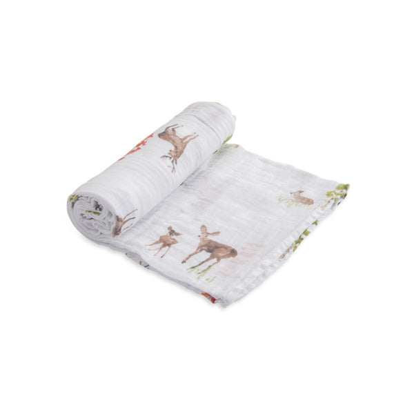 Cotton Muslin Swaddle Single in Oh Deer by Little Unicorn