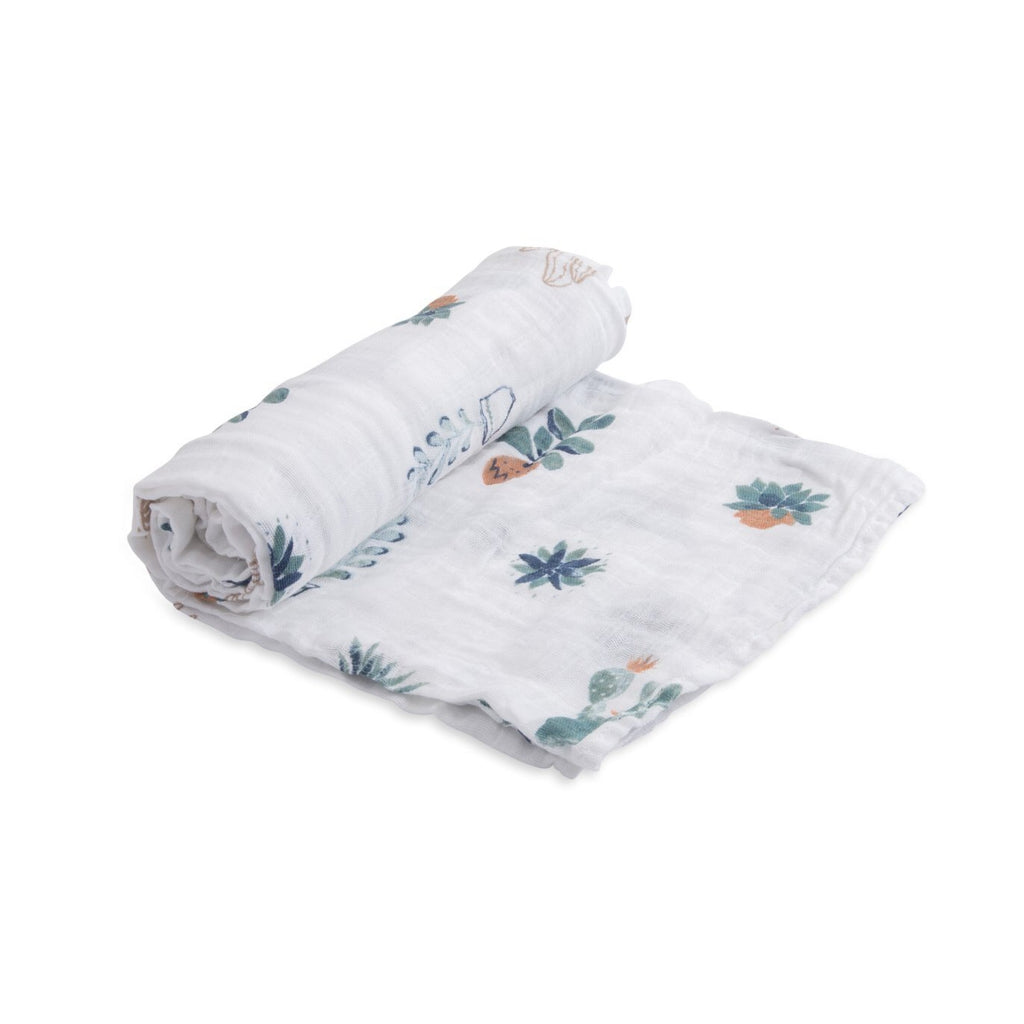 Cotton Muslin Swaddle Single in Prickle Pots by Little Unicorn
