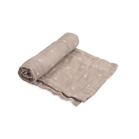 Cotton Muslin Swaddle Single in Taupe Cross by Little Unicorn