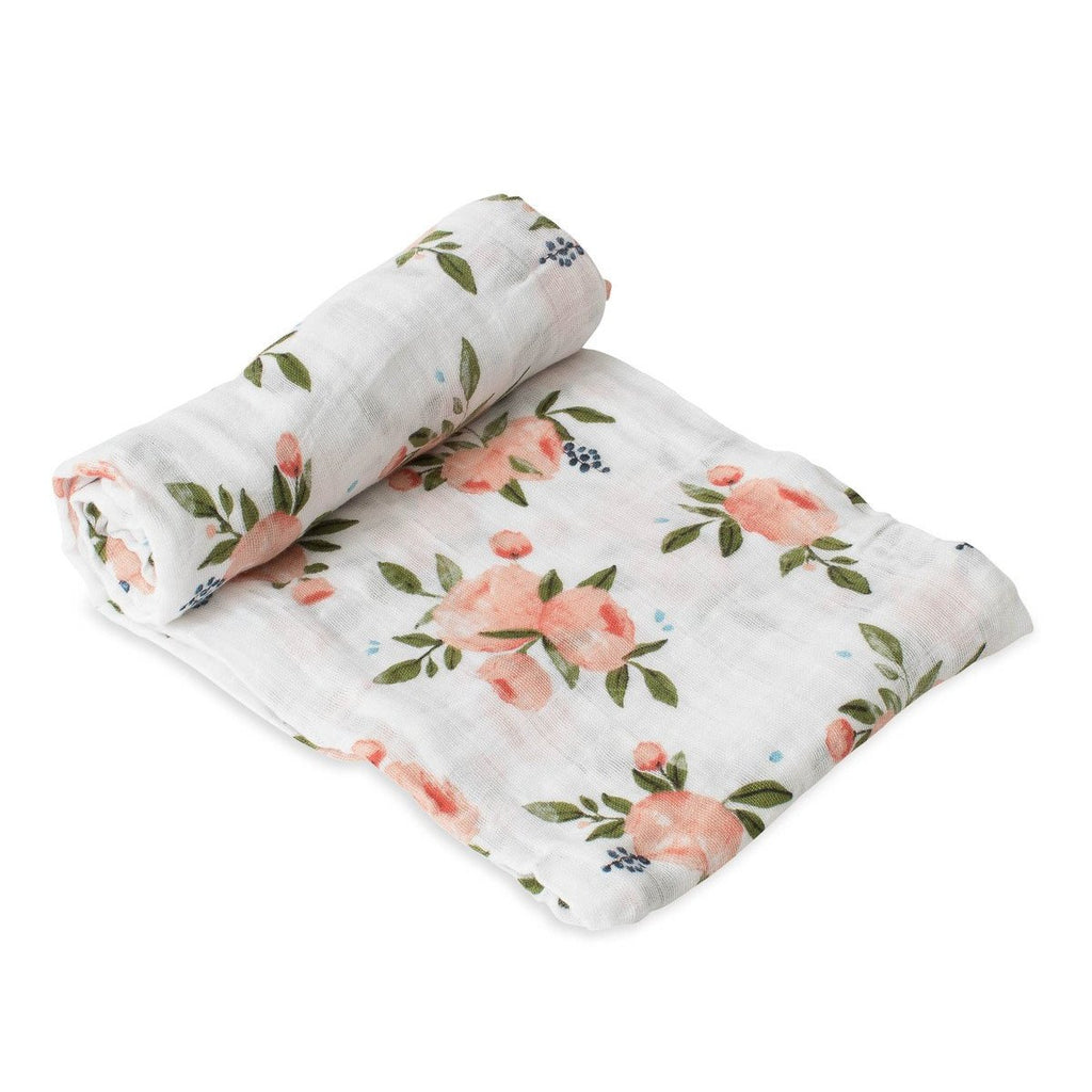 Cotton Muslin Swaddle Single in Watercolor Roses by Little Unicorn