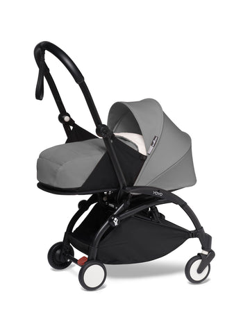 BABYZEN YOYO² Complete Stroller with Newborn Color Pack Fabric Set in Gray with Black Frame