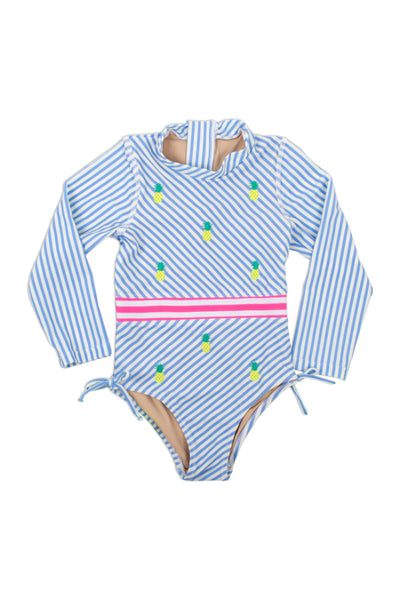 One Piece Longsleeve in Blue Pinstripe Embroidered Pineapple by Shade Critters