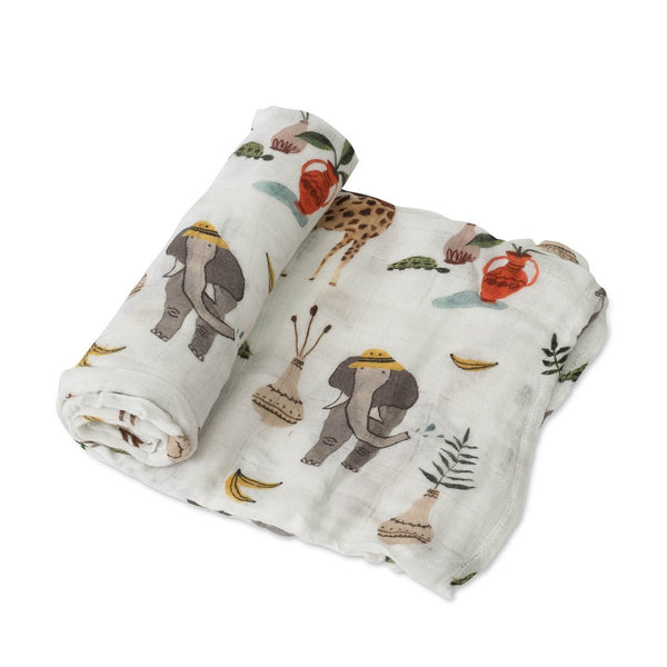 Deluxe Cotton Muslin Swaddle Single in Safari Social by Little Unicorn