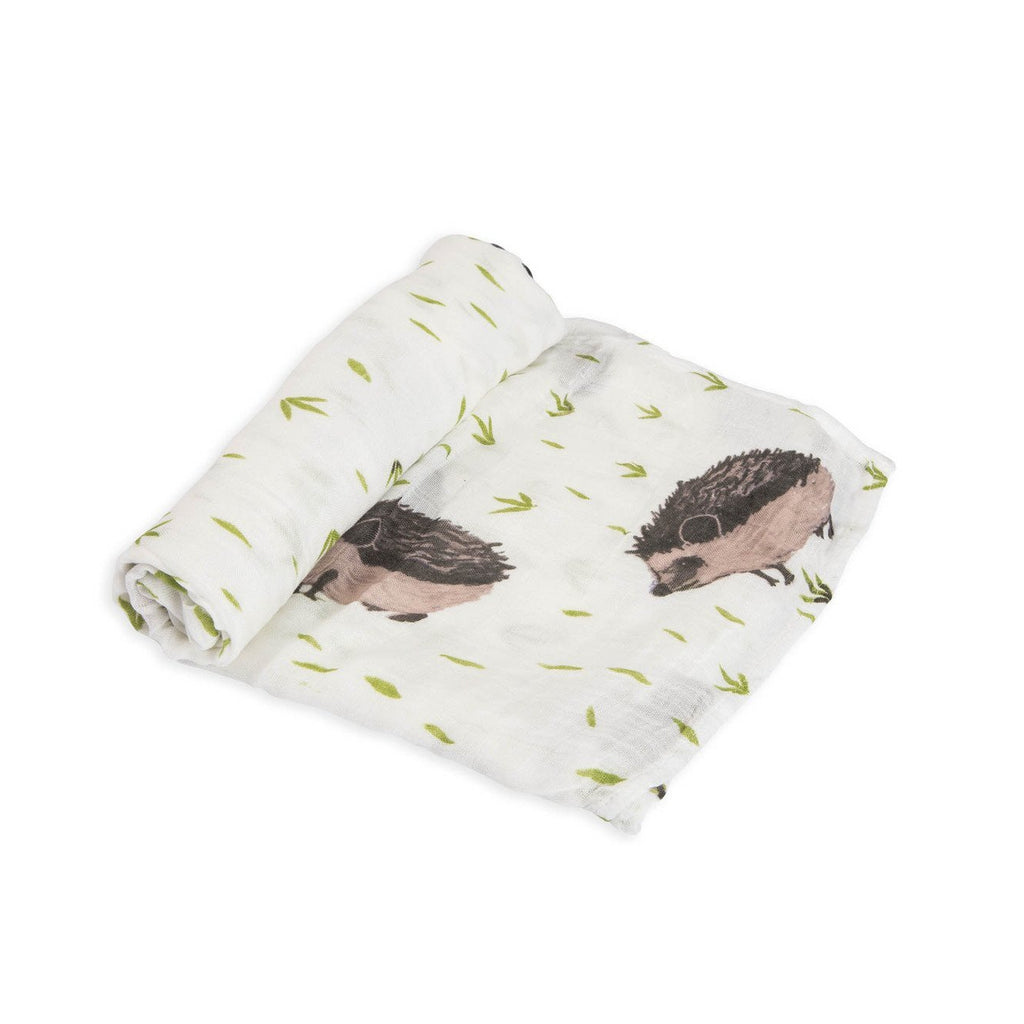 Deluxe Muslin Swaddle Single in Hedgehog by Little Unicorn