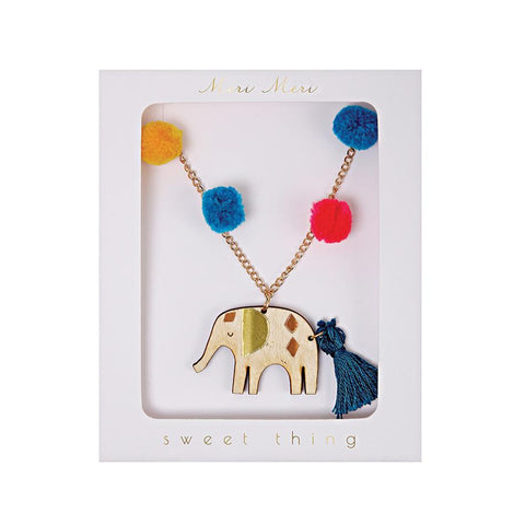 Elephant Pom Pom Necklace