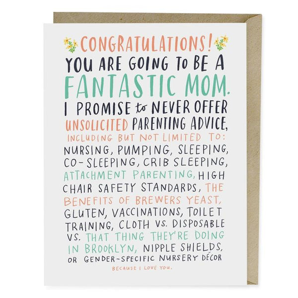 Unsolicited Parenting Advice Baby Card