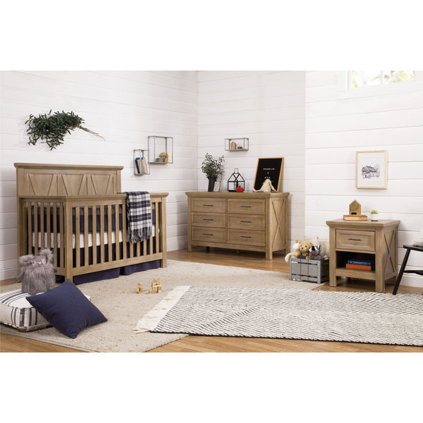 Emory Farmhouse Crib, Changing Dresser and Nightstand Nursery Set in Driftwood