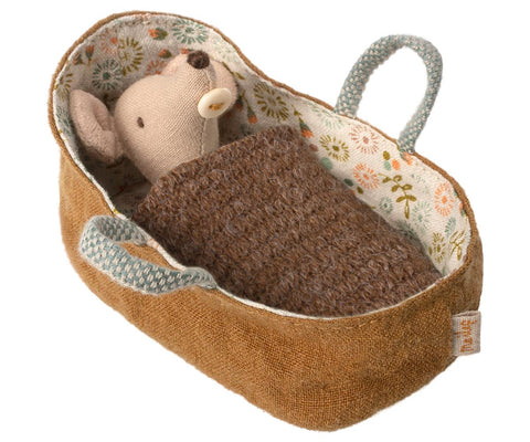 Baby Mouse in Carrycot with Woven Brown Blanket by Maileg