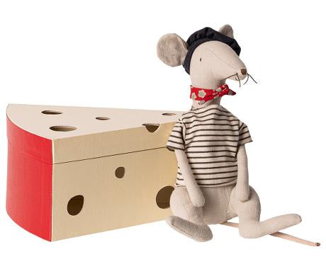 Rat in Cheese Box in Light Grey by Maileg